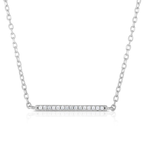 STERLING SILVER MINI CZ BAR NECKLACE