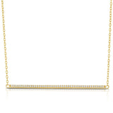 STERLING SILVER LONG HORIZONTAL BAR CZ NECKLACE