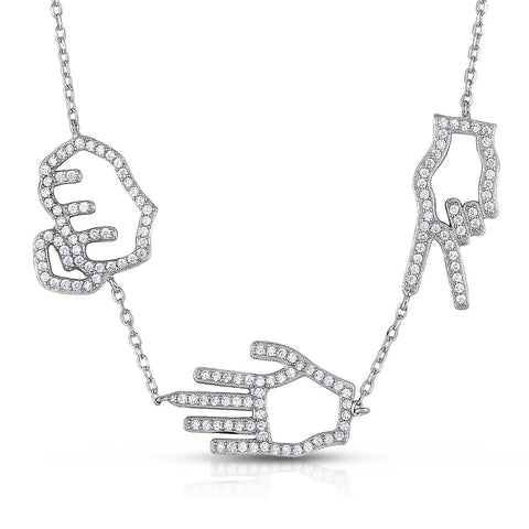 STERLING SILVER CZ ROCK PAPER SCISSOR NECKLACE