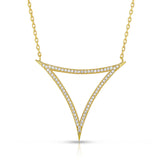 STERLING SILVER CZ CURVED TRIANGLE LINEAR NECKLACE