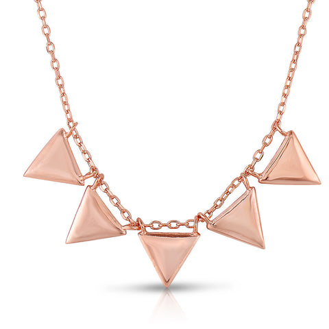 STERLING SILVER FIVE PLAIN TRIANGLES NECKLACE