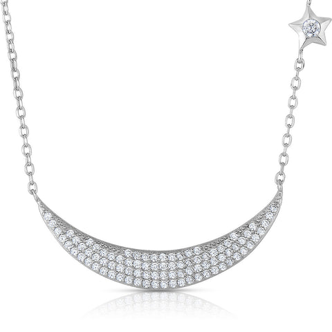 STERLING SILVER MINI CZ STAR AND PAVE ECLIPSE NECKLACE