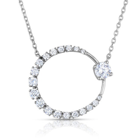 STERLING SILVER CZ ECLIPSE NECKLACE