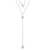 STERLING SILVER TWO BEZEL CZ DANGLE NECKLACE