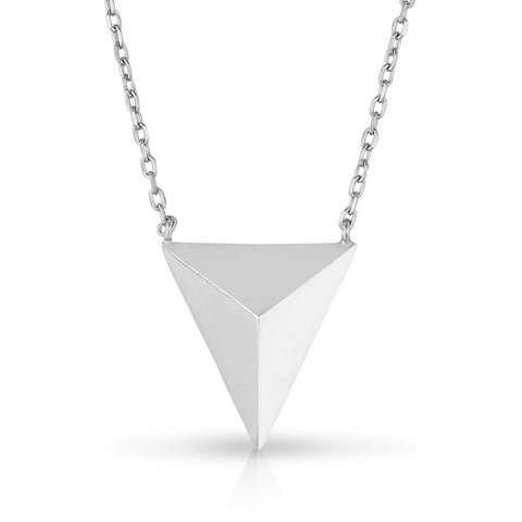 STERLING SILVER PLAIN PYRAMID NECKLACE
