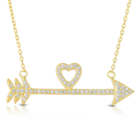 STERLING SILVER CZ ARROW TO HEART NECKLACE