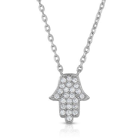 STERLING SILVER MINI CZ HAMSA NECKLACE