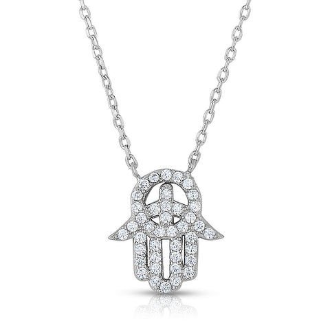 STERLING SILVER CZ HAMSA NECKLACE