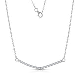 STERLING SILVER LONG CZ ARROW BAR NECKLACE