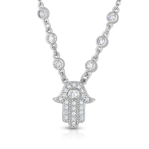 STERLING SILVER CZ HAMSA WITH BEZEL CZ NECKLACE