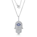 STERLING SILVER CZ PAVE HAMSA NECKLACE