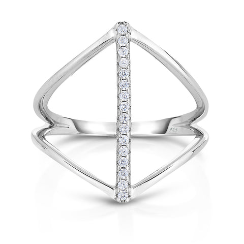 STERLING SILVER CZ LINEAR RING