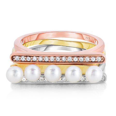 STERLING SILVER TRI-TONE STACKABLE CZ BAR & MINI PEARLS RINGS