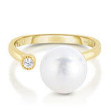 STERLING SILVER SINGLE CZ & PEARL RING