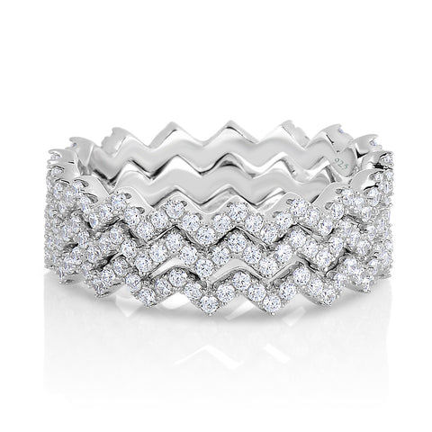 STERLING SILVER CZ ZIC ZAC STACKABLE RING
