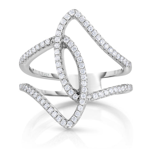 STERLING SILVER CZ LINEAR DESIGN RING