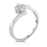 STERLING SILVER CZ LINEAR SOLITAIRE RING