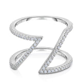 STERLING SILVER CZ LINEAR & OPEN RING