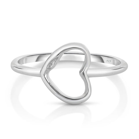 STERLING SILVER HOLLOW LINEAR HEART RING