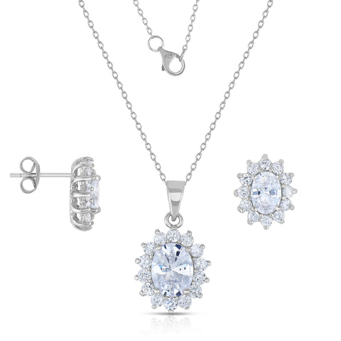 STERLING SILVER OVAL HALO CZ SET