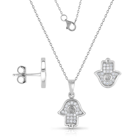 STERLING SILVER MINI CZ HAMSA EARRINGS & PENDANT SET