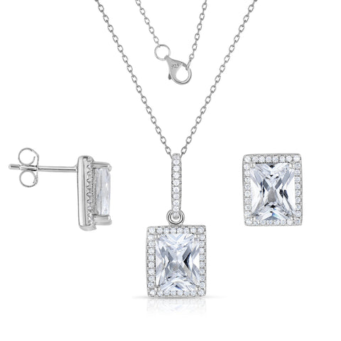STERLING SILVER SQAURE HALO CZ EARRINGS & PENDANT SET