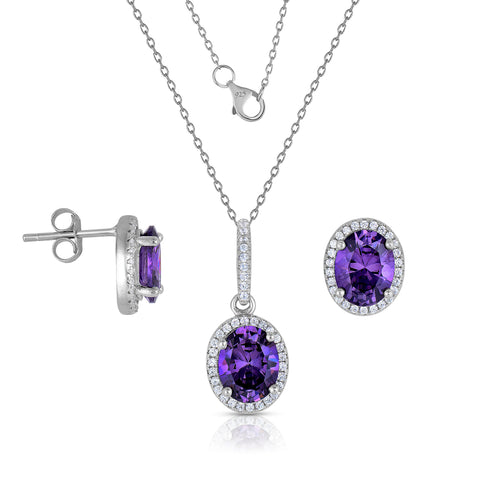 STERLING SILVER OVAL HALO CZ EARRINGS & PENDANT SET