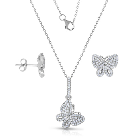 STERLING SILVER CZ PAVE BUTTERFLY EARRINGS & PENDANT SET