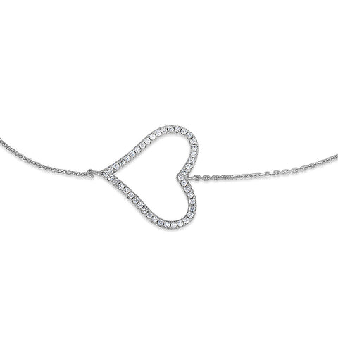 STERLING SILVER HOLLOW CZ HEART BRACELET