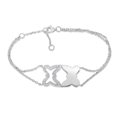 STERLING SILVER CZ BRACELET WITH BUTTERFLIES
