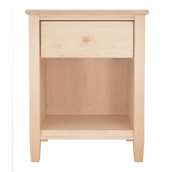 Traditional shaker 1 drawer nightstand new england furniture studio - Elegant types of nightstands ...