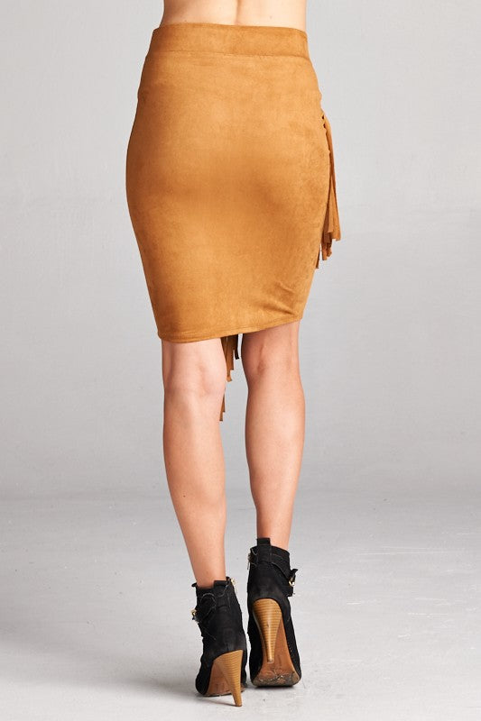KENNA FRINGE FAUX SUEDE SKIRT