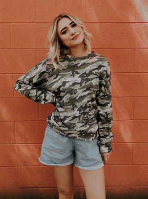 KIMMIE CAMO DISTRESSED SWEATER