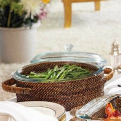 Round Rattan 2 qt Holder w/ Cover