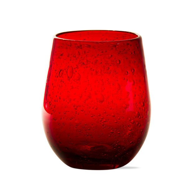 Red Bubble Glass Stemless Wine