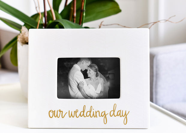 Our Wedding Day Layered Herringbone Frame