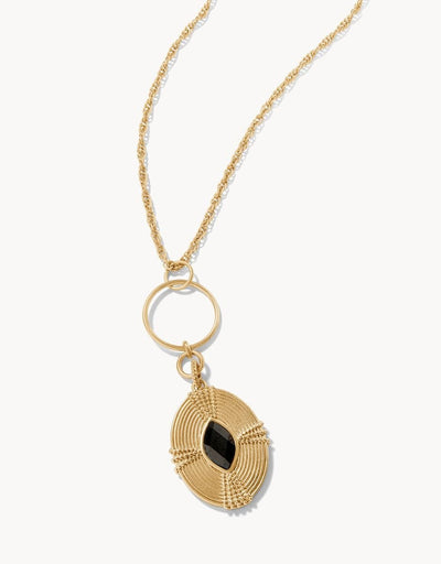 "Oval Medallion Necklace 30"" Pyrite Gold"