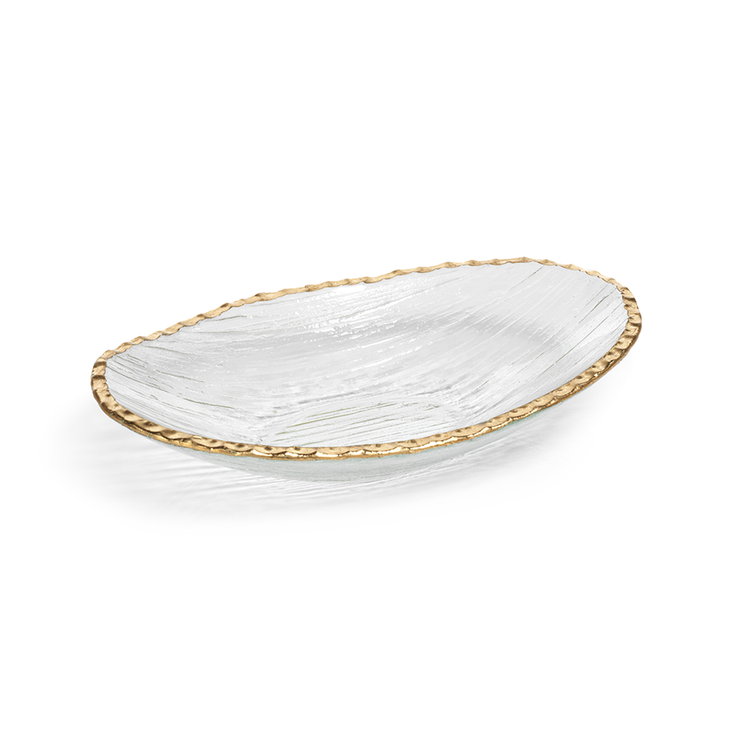 Clear Textured Bowl with Jagged Gold Rim