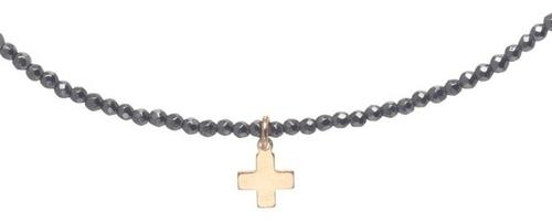 "15"" Choker Faceted Hematite w/ Signature Cross Gold Charm"
