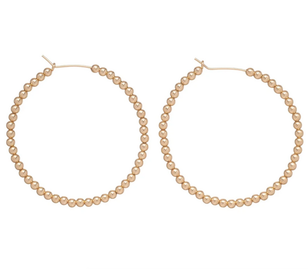 "1.75"" Beaded Gold Hoop - 3mm"