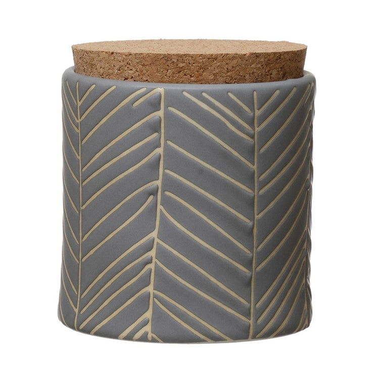 Debossed Stoneware Canister