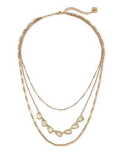 Susanna Multi Strand Gold Necklace - White Abalone