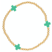 2mm Signature Cross Gold Bead Bracelet