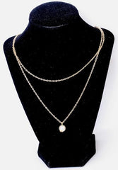 Gold Double Chain Pearl Necklace