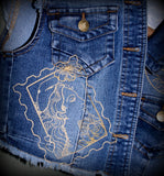 Embroidered Cropped Denim Vest with Romantic Paris Love Letter Theme
