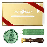 Botanical Twig Green Plants Wax Seal Stamp Kit, 2 Emerald Green Wick Wax Sticks