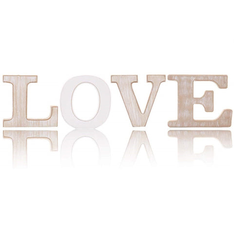 Rustic Wood Love Sign | Free Standing Wooden Block Cutout Letters | Sweet Love Decorative Signs