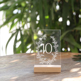 Acrylic Wedding Table Numbers 1-20 with Wood Stands | 4x6 inch Botanical Olive Wreath Design