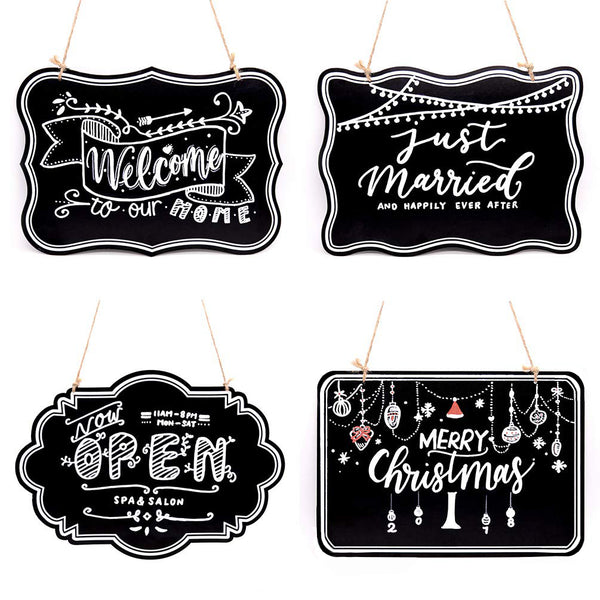 10x14 inch Twine Hanging Chalkboard Sign, 4 Styles Double-Sided Wooden Message Welcome Board Signs, 4 Count