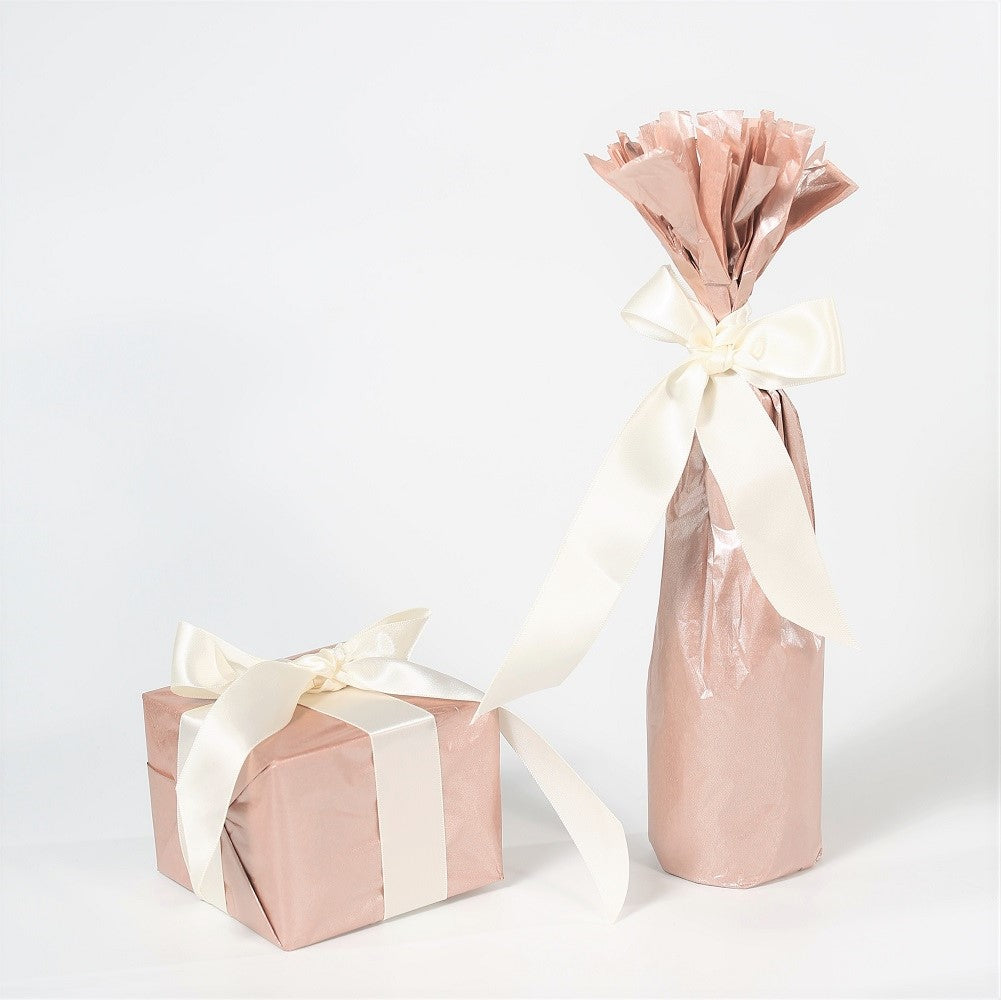 "UNIQOOO 40 Sheets Premium Metallic Rose Gold Tissue Gift Wrap Paper Bulk, 20"" X 26"" Each, 100% Recyclable Gift Wrapping Accessory"